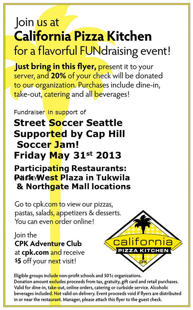 California Pizza Kitchen Fundraiser Street Soccer Seattle